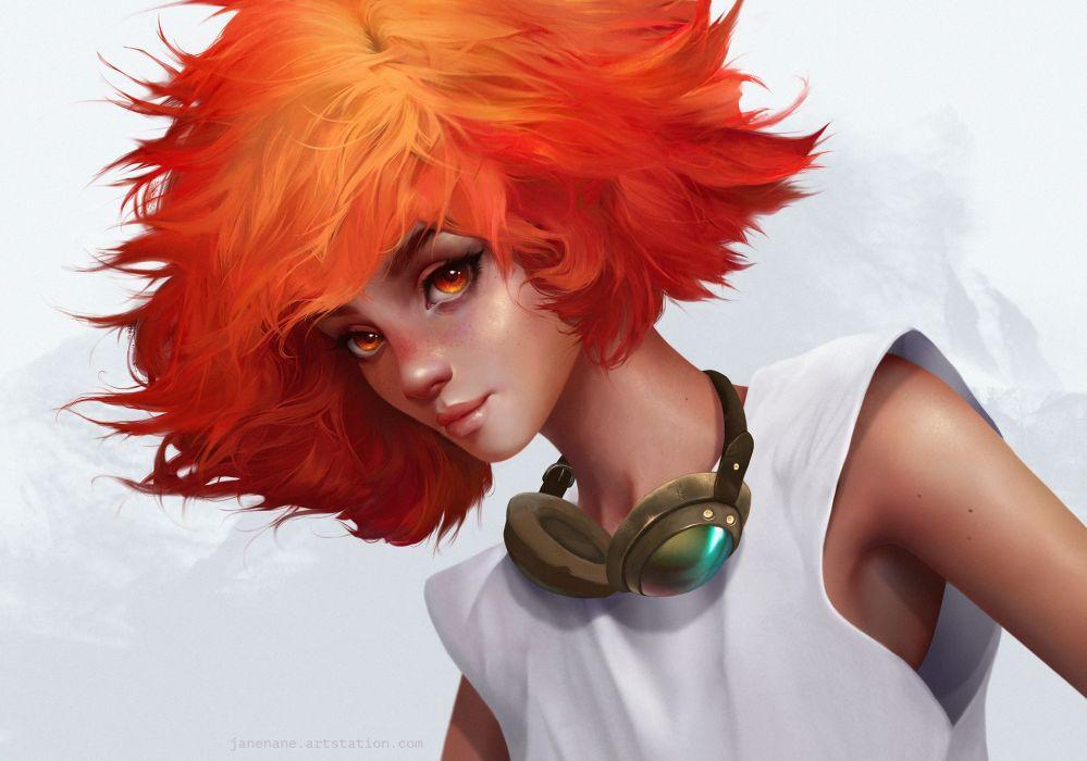 red hair fantasy Art artstation woman JaneNane artist Illustration beautiful woman cute wallpaper
