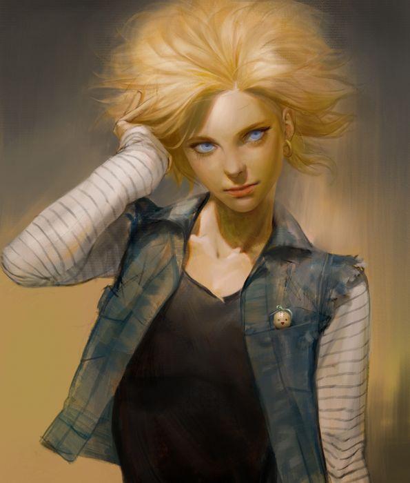 sangsoo-jeong-android18 fantasy girl woman beautiful long hair blue eyes original artstation wallpaper