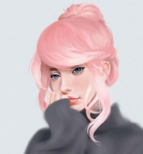 fantasy Art artstation woman JaneNane artist Illustration beautiful woman pink hair blue eyes wallpaper