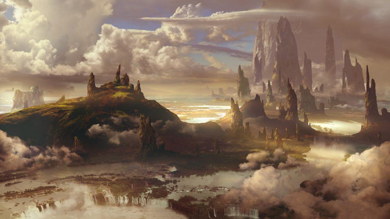 Cody Foreman fantasy Concept Art artstation sky clouds wallpaper