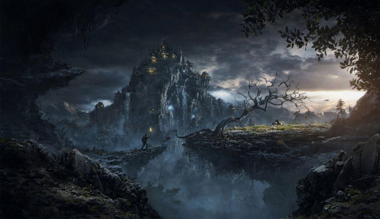 tree Nikolay Razuev artstation dark city fantasy fire wallpaper