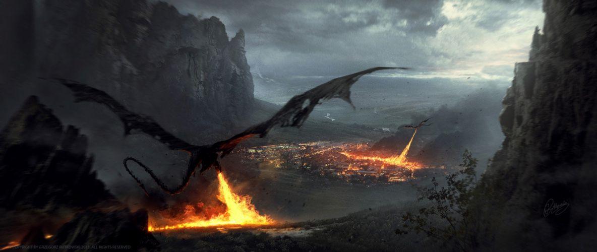 Greg Rutkowski artstation dragons dark Hobbit fantasy fire wallpaper
