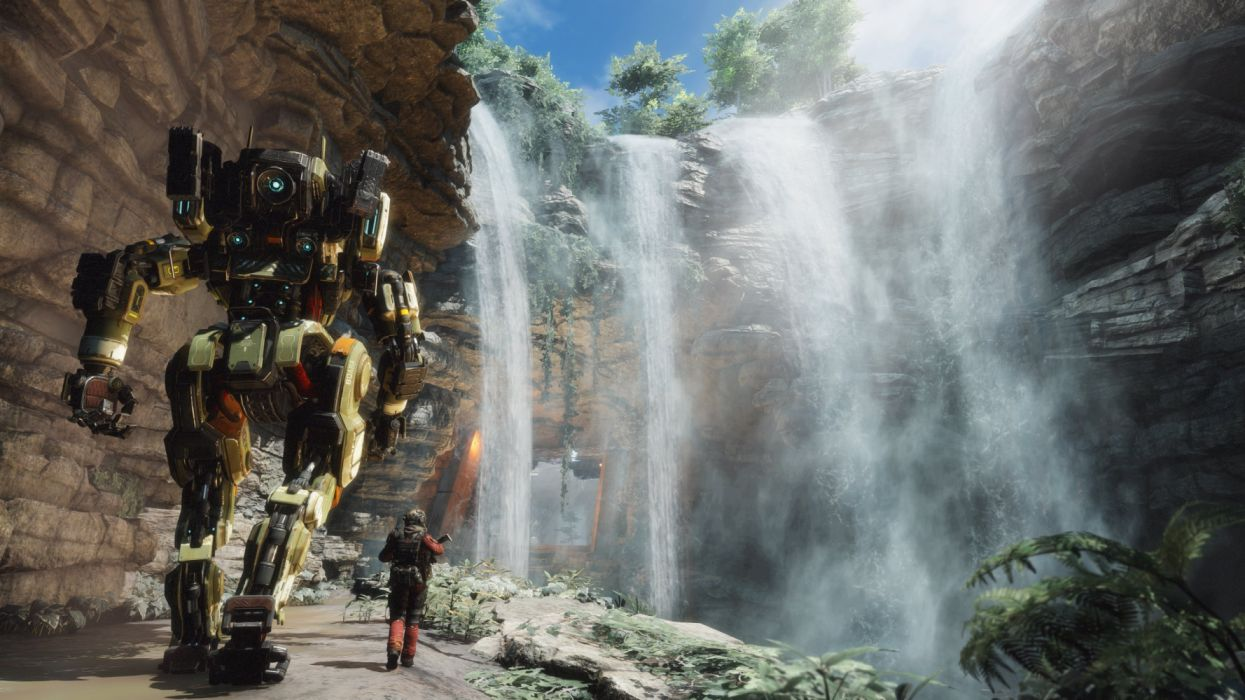 TITANFALL futuristic mecha robot sci-fi warrior fps shooter action technics wallpaper