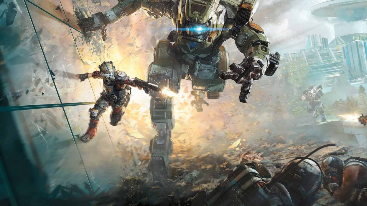 TITANFALL futuristic mecha robot sci-fi warrior fps shooter action technics wallpaper