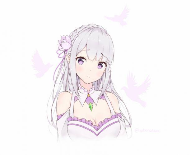 Konachan com - 236311 adore emilia gray hair long hair purple eyes re zero kara hajimeru isekai seikatsu white wallpaper