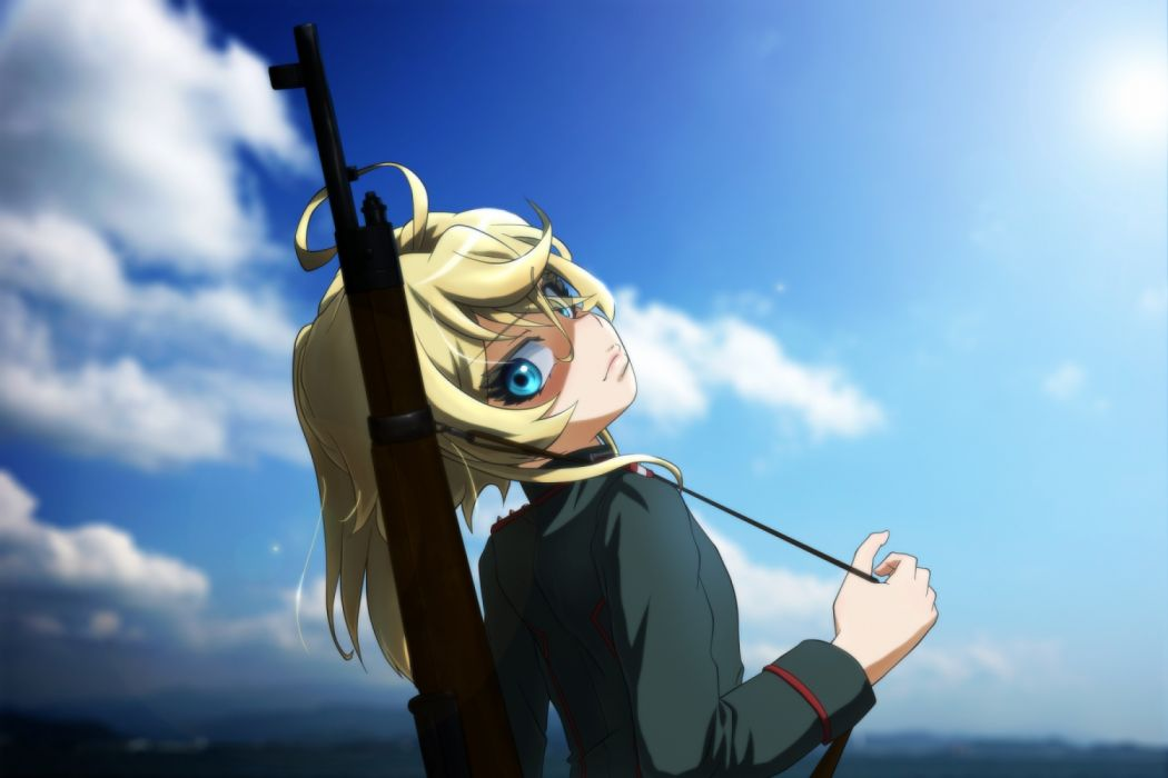 Konachan com - 236347 aqua eyes blonde hair clouds genya67 gun military short hair sky tanya degurechaff uniform weapon youjo senki wallpaper