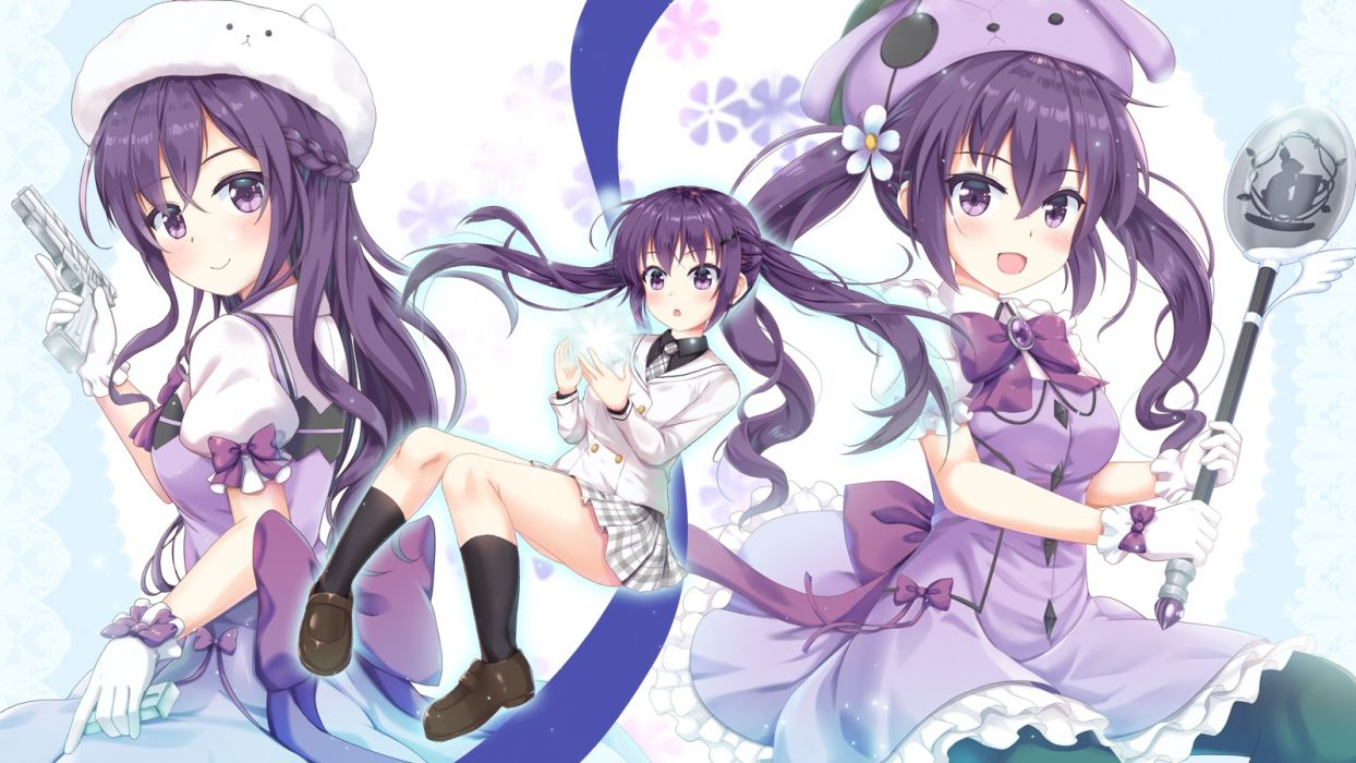 Konachan com - 236334 blush bow braids dress gloves gun hat kneehighs long hair niiya pantyhose purple eyes purple hair seifuku skirt tedeza rize twintails weapon wallpaper