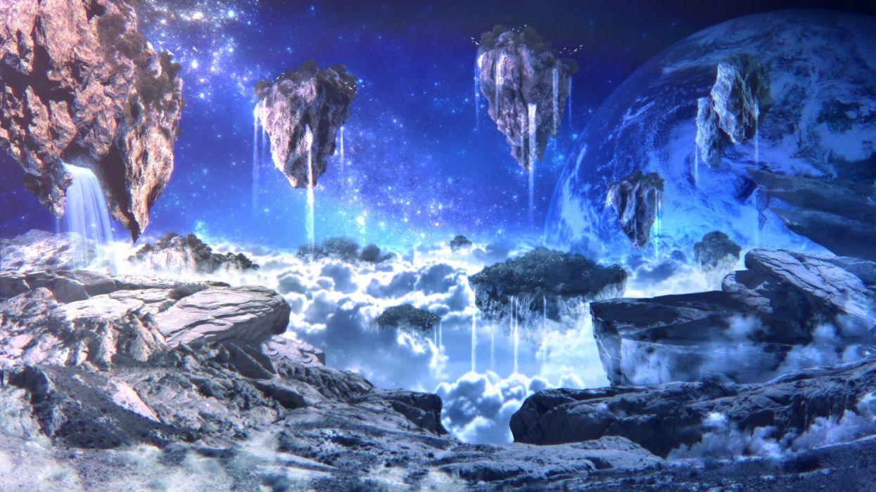 Konachan com - 236328 3d airship clouds original planet scenic space stars yoshimo (yoshiki qaws) wallpaper