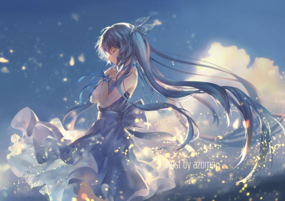 Konachan com - 236333 aqua hair avamone clouds dress hatsune miku long hair ribbons sky twintails vocaloid watermark wallpaper