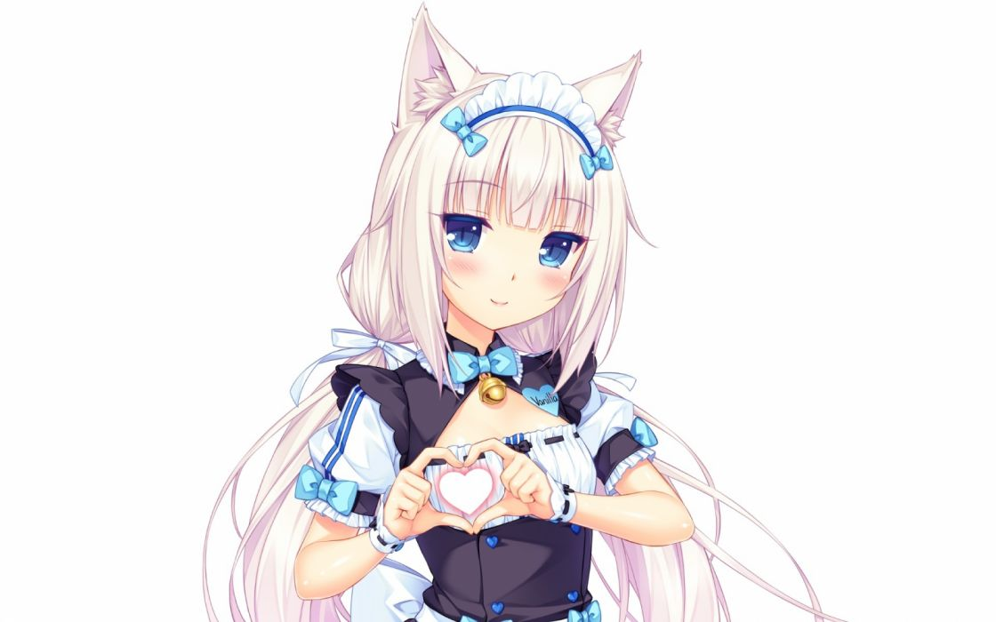 Konachan com - 236436 aqua eyes bell blush bow catgirl headdress heart long hair maid nekopara photoshop sayori twintails uniform waitress white white hair wristwear wallpaper