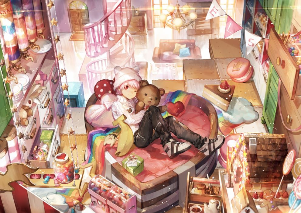 Konachan com - 236474 all male candy couch elsword elsword (character) hat male pink hair red eyes scorpion5050 short hair stairs teddy bear wink wallpaper