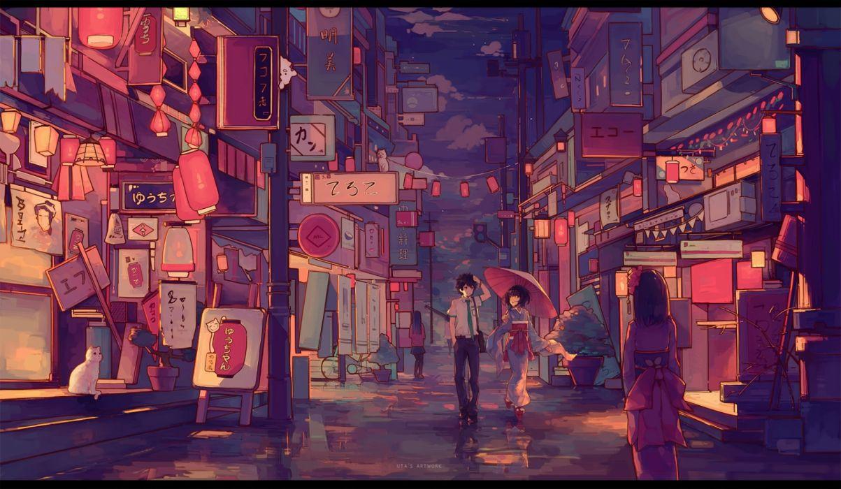 Konachan com - 236519 animal building cat city clouds kimi no na wa kimono male night polychromatic reflection seifuku short hair sky tie umbrella watermark yong mei-uta wallpaper