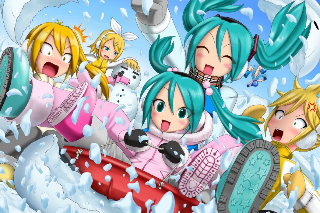 Konachan com - 236567 akita neru hatsune miku kagamine len kagamine rin kaito kazu-chan male vocaloid wallpaper