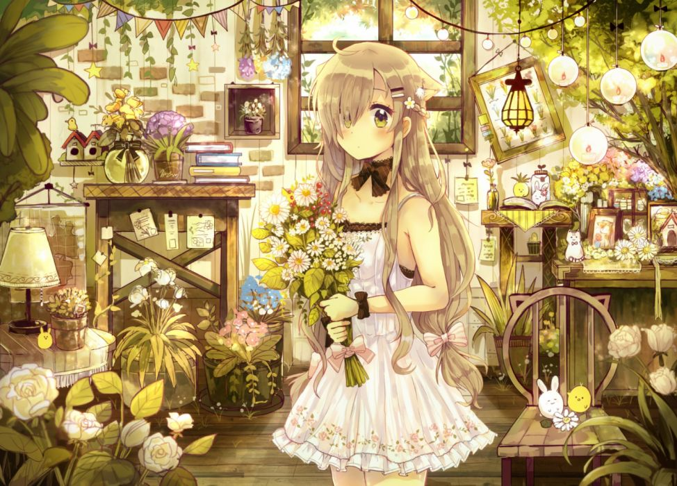 Konachan com - 236590 animal animal ears bird blonde hair blush book bow braids dress flowers green eyes long hair niikura kaori original paper wallpaper