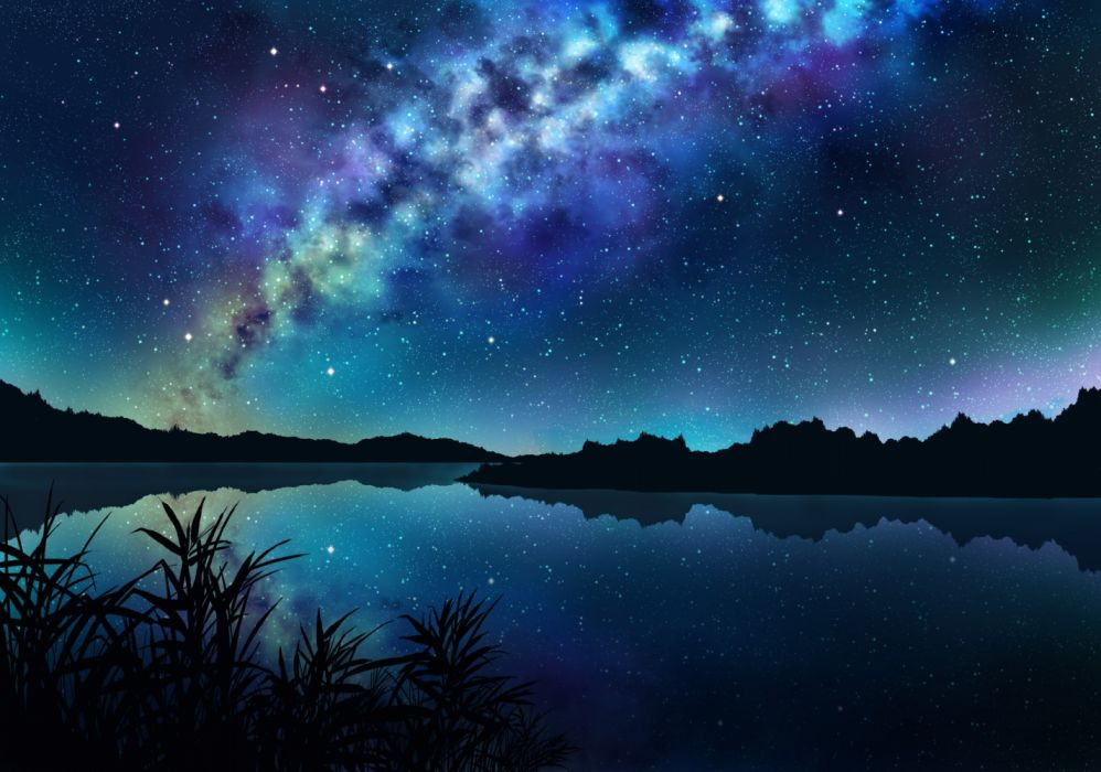Konachan com - 236684 dark grass jpeg artifacts landscape night nobody original reflection scenic sky stars tagme (artist) water wallpaper