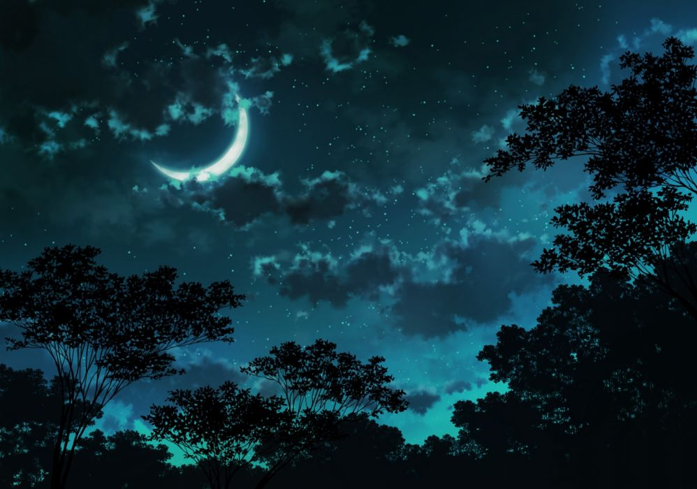 Konachan com - 236685 clouds dark jpeg artifacts landscape moon night nobody original scenic sky stars tagme (artist) tree wallpaper