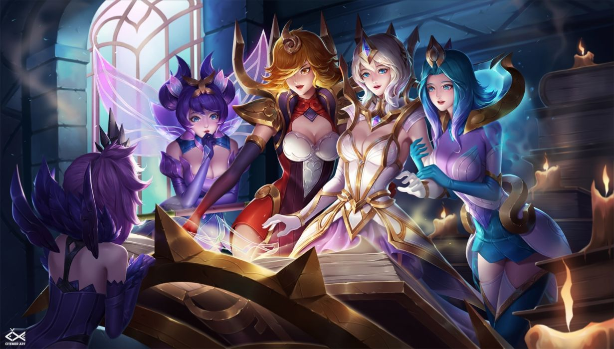 Konachan com - 236698 breasts citemer cleavage group league of legends luxanna crownguard magic watermark wallpaper
