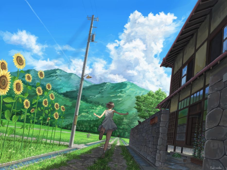 Konachan com - 236700 animal black hair building cat clouds dress flowers food fruit grass landscape original scenic shade signed somei ysnr sunflower water watermelon wallpaper