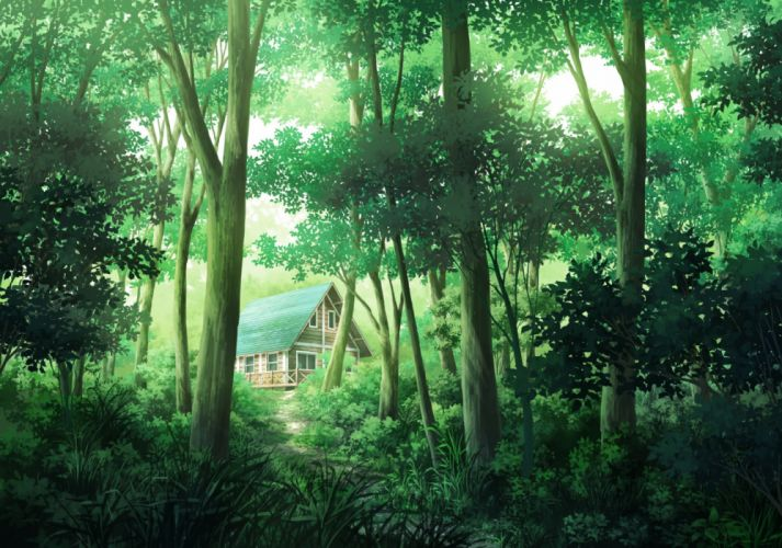 Konachan com - 236695 building forest grass nobody original sakanamodoki scenic tree wallpaper