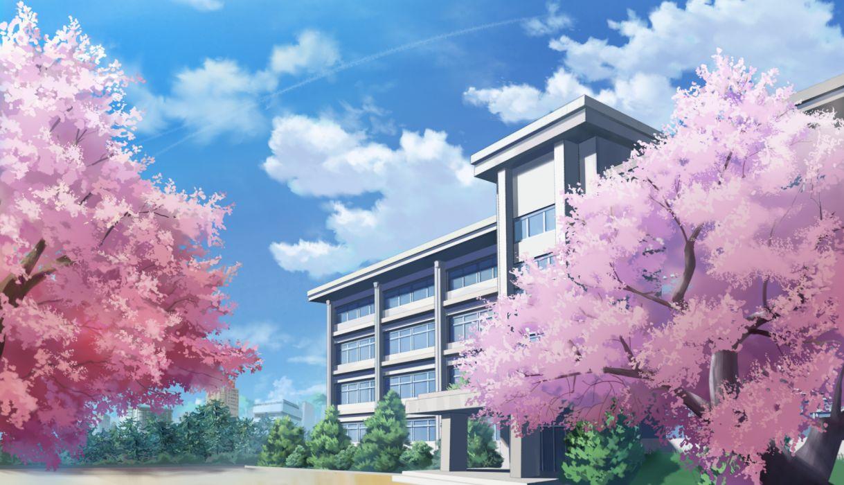 Konachan com - 236707 building cherry blossoms city clouds nobody original scenic sky tagme (artist) tree wallpaper