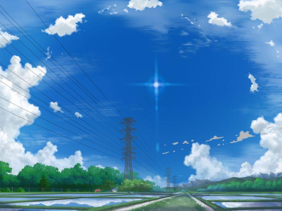 Konachan com - 236716 building clouds grass nobody original scenic shamoji sky watermark wallpaper
