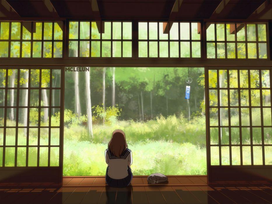 Konachan com - 236737 animal brown hair cat grass long hair mclelun original scenic seifuku skirt watermark wallpaper