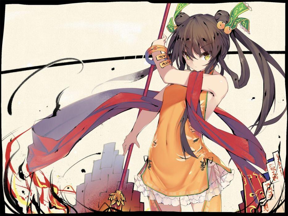 Konachan com - 236790 black hair dress long hair sennen sensou aigis tagme (artist) weapon yellow eyes wallpaper