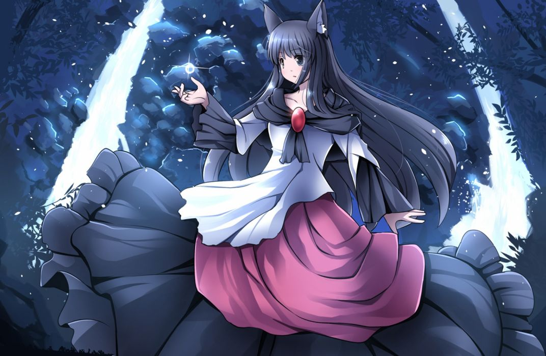 Konachan com - 236783 animal ears black eyes black hair dress imaizumi kagerou long hair night petals risutaru touhou water wallpaper