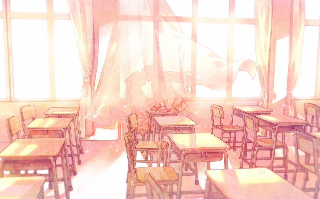 Konachan com - 236831 2girls furai kiss long hair original shoujo ai wallpaper