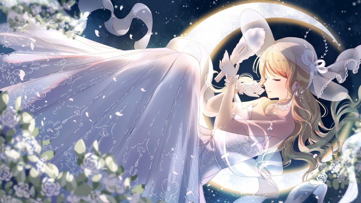 Konachan com - 236965 bisonbison blonde hair dress flowers gloves hat long hair miracle nikki petals wedding attire wallpaper