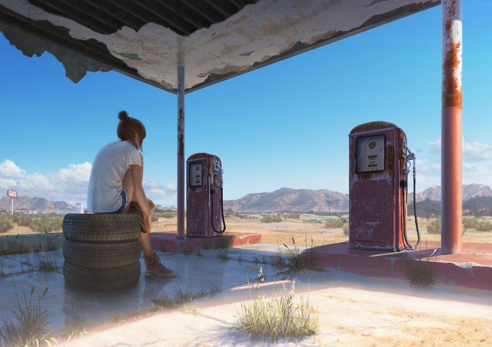 Konachan com - 236975 brown hair building clouds desert grass natsu3390 original ponytail short hair shorts sky wallpaper