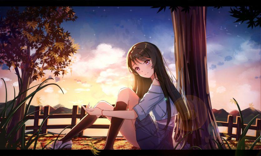 Konachan com - 237024 black hair byakuya reki clouds grass kneehighs long hair original purple eyes skirt sky stars tree wallpaper
