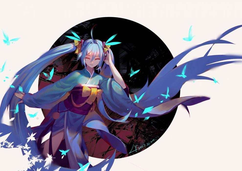 Konachan com - 237020 aqua hair butterfly hatsune miku headphones japanese clothes kimono lian yao long hair signed twintails vocaloid wallpaper