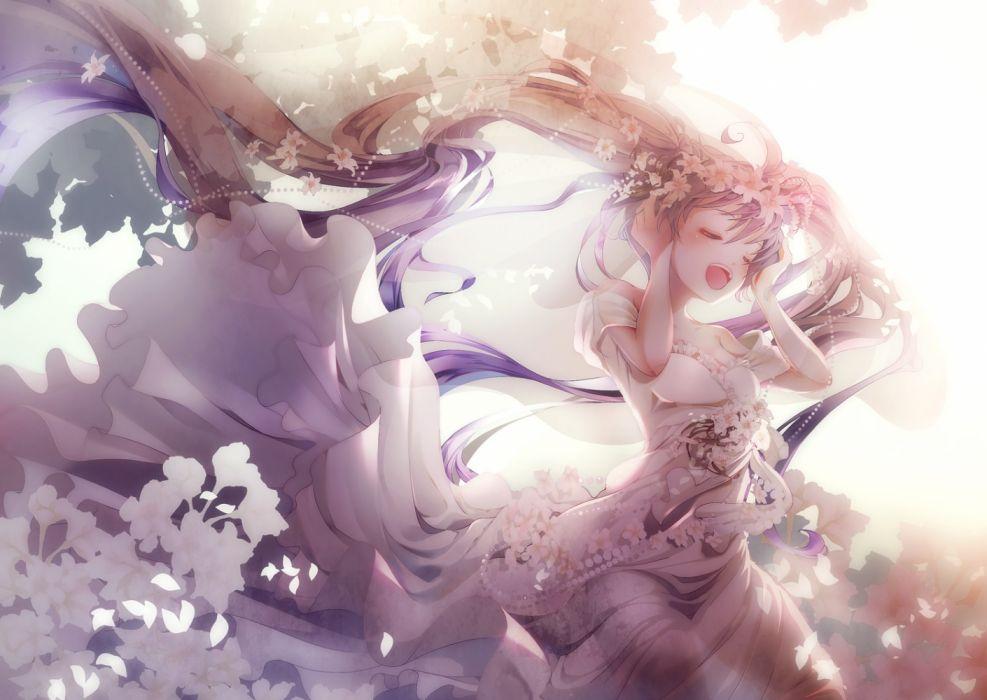 Konachan com - 237086 blush dress flowers hatsune miku long hair petals see through tagme (artist) twintails vocaloid wallpaper