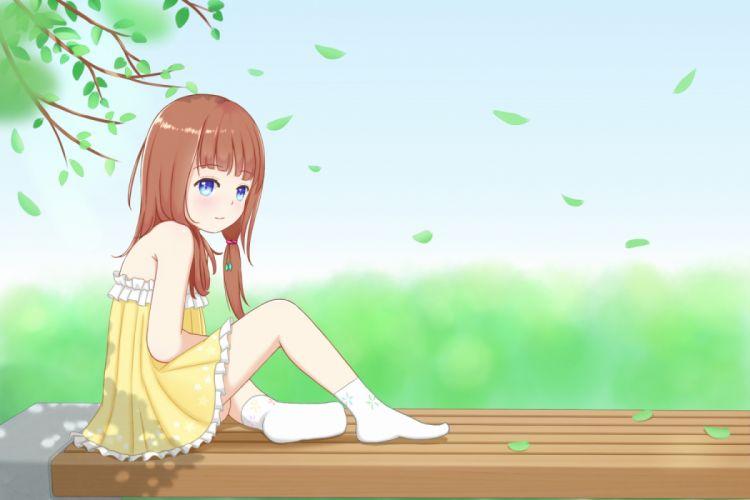 Konachan com - 237101 abwan blue eyes brown hair dress loli long hair original socks summer summer dress wallpaper