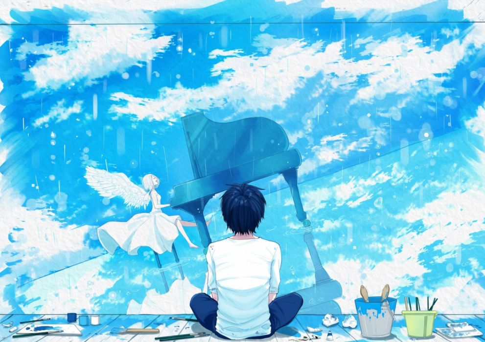 Konachan com - 237133 barefoot blue hair clouds dress instrument male natsunooto 010 original piano reflection short hair sky white hair wings wallpaper