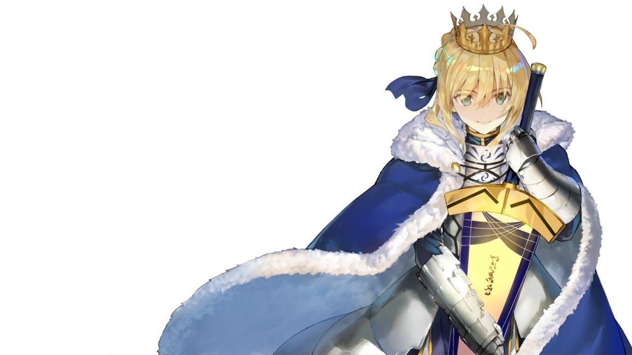 Konachan com - 237170 armor blonde hair cape crown fate grand order fate stay night fate (series) green eyes headdress photoshop ribbons saber sword weapon white wallpaper