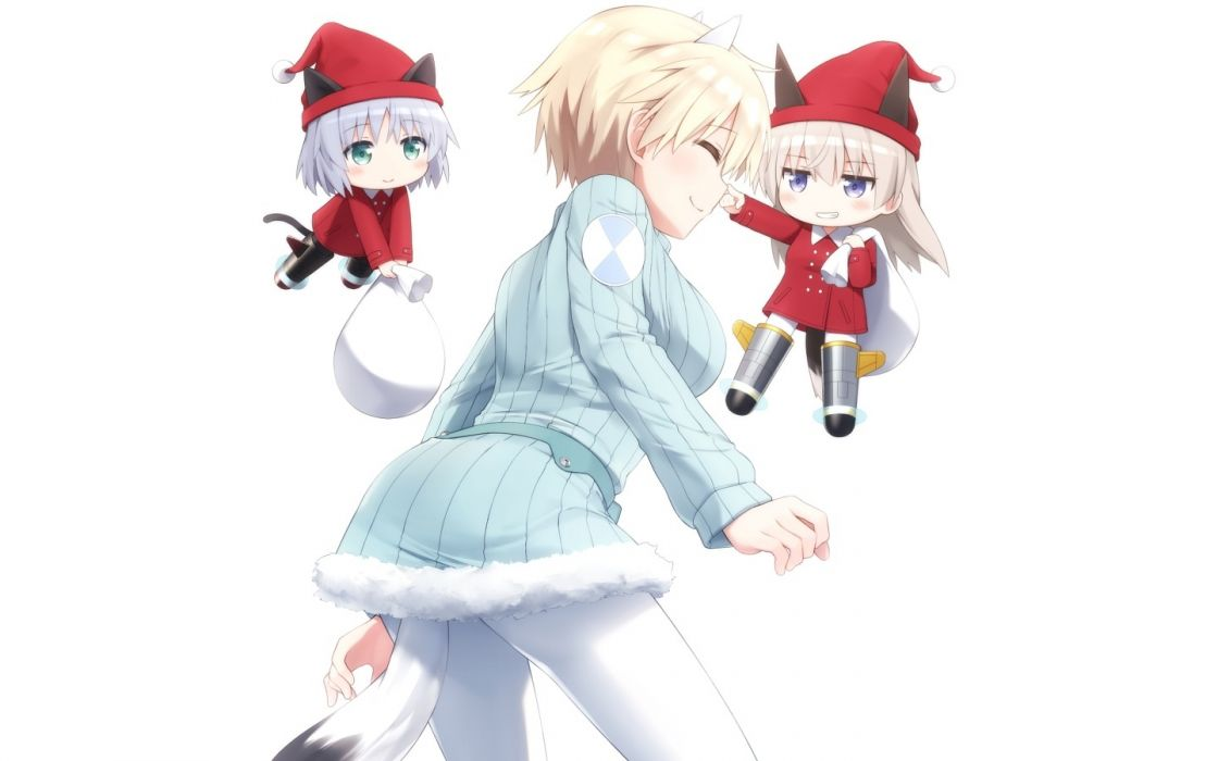 Konachan com - 237256 animal ears blonde hair blush catgirl chibi christmas dress gray hair green eyes hat long hair purple eyes santa hat short hair tail white wallpaper