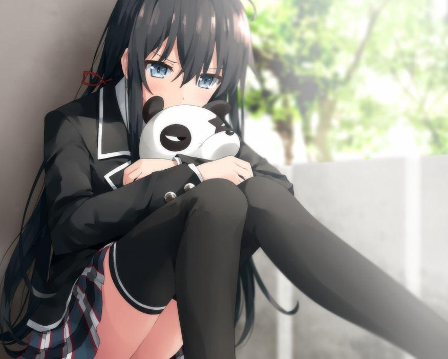 Konachan com - 237262 aqua eyes black hair blush cropped haribote (tarao) long hair ribbons seifuku skirt thighhighs waifu2x yukinoshita yukino wallpaper