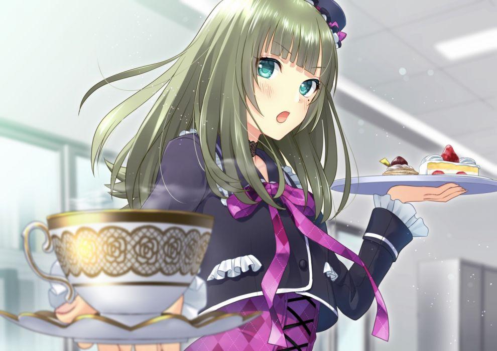 Konachan com - 237307 blush cake daidai jamu drink food fruit green eyes green hair long hair original wallpaper