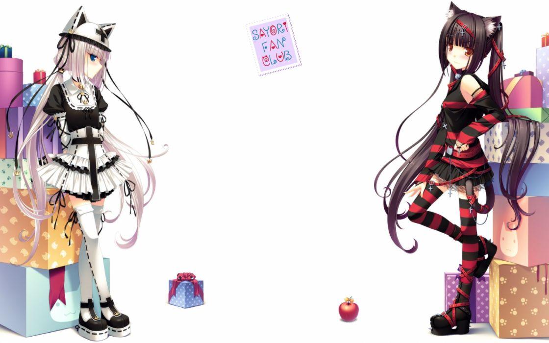 Konachan com - 237328 2girls apple bell blush boots catgirl choker cross dress food fruit goth-loli hat long hair original ribbons sayori skirt tail twintails white wallpaper