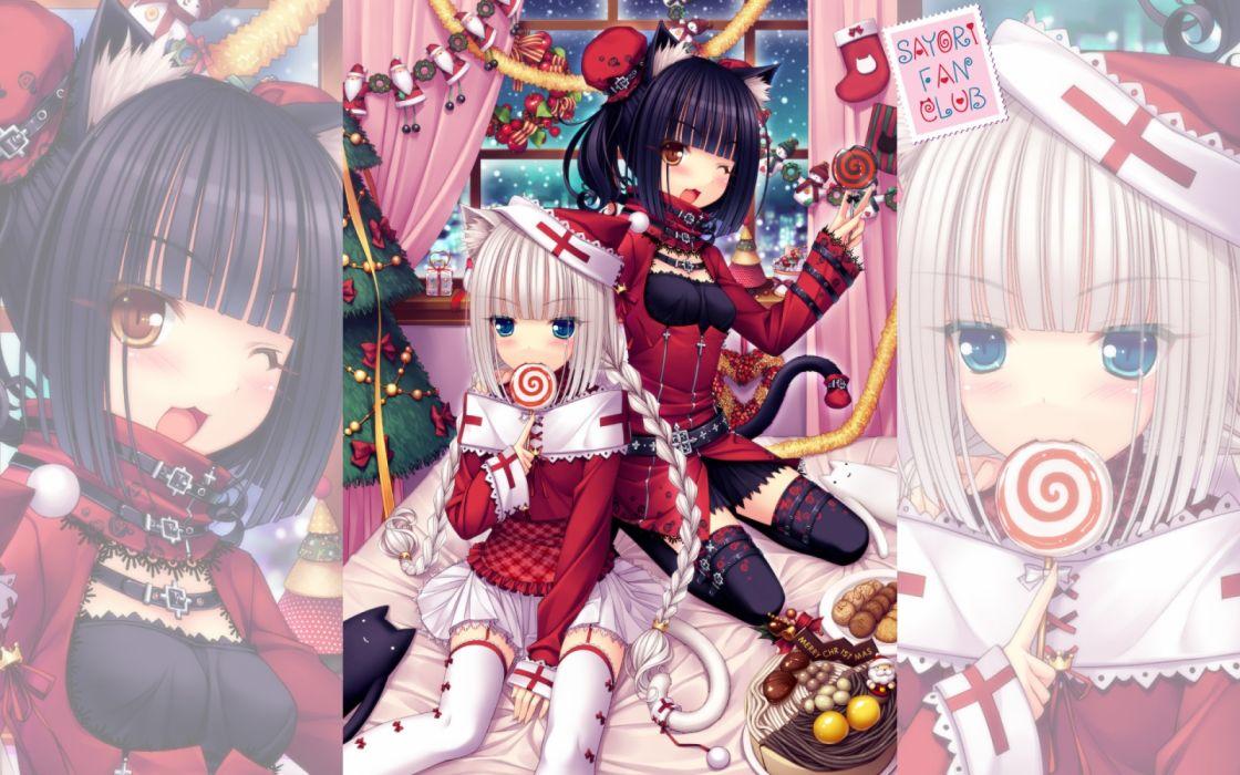 Konachan com - 237326 2girls blue eyes blush brown eyes cake cat smile catgirl christmas food hat long hair original sayori tail thighhighs white hair wink zoom layer wallpaper