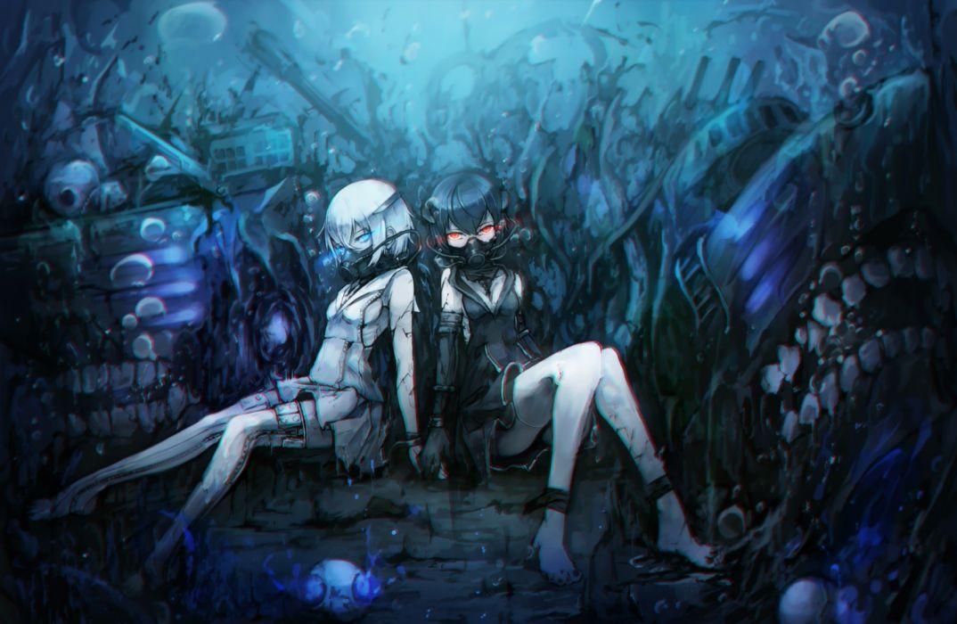 Konachan com - 237332 abyssal twin hime anthropomorphism kajaneko kantai collection twins underwater water wallpaper