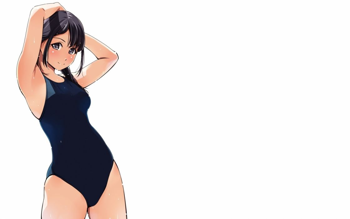Konachan com - 237501 aliasing black hair breasts gray eyes matsunaga kouyou original swimsuit wet white wallpaper