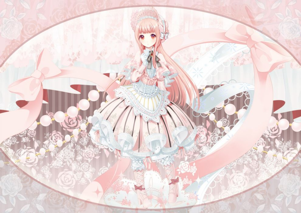 Konachan com - 237519 bow dress gloves headdress lolita fashion long hair original pink eyes pink hair tosato wallpaper