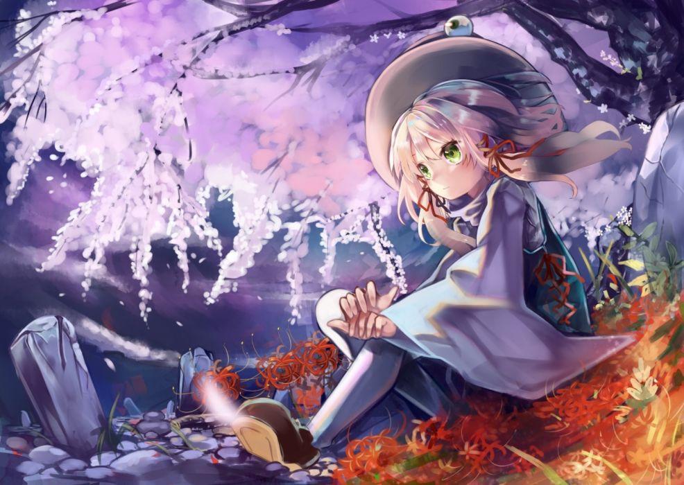 Konachan com - 237523 blonde hair cherry blossoms flowers green eyes hat moriya suwako petals ribbons touhou zhu xiang wallpaper