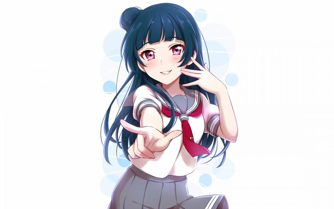 Konachan com - 237578 blue hair blush long hair love live! school idol project love live! sunshine!! pink eyes seifuku sekina skirt tsushima yoshiko white wallpaper