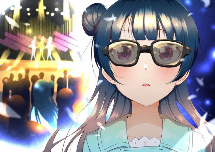 Konachan com - 237572 blue hair blush close glasses long hair love live! school idol project love live! sunshine!! pink eyes tsushima yoshiko yomo tsuka wallpaper