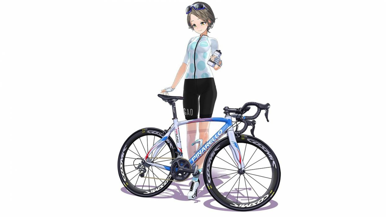Konachan com - 236061 bicycle bike shorts brown hair drink gloves hitomi kazuya original short hair shorts skintight sunglasses white yellow eyes wallpaper