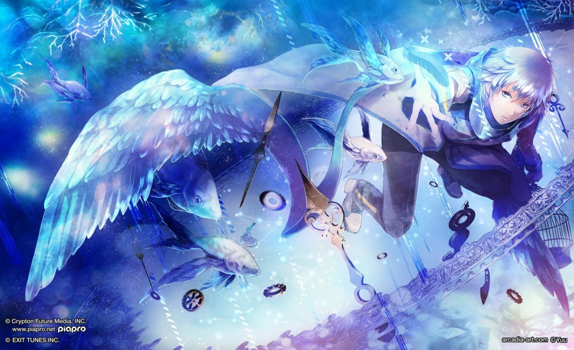 Konachan com - 236283 all male animal feathers fish gray eyes gray hair jpeg artifacts kaito male microphone radu scarf short hair vocaloid watermark wallpaper
